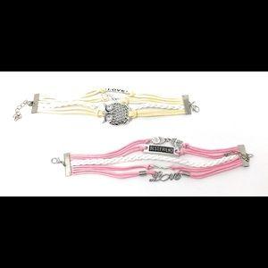 Jewelry - Owl Braided Bracelet Layered Style Bundle Set NWOT